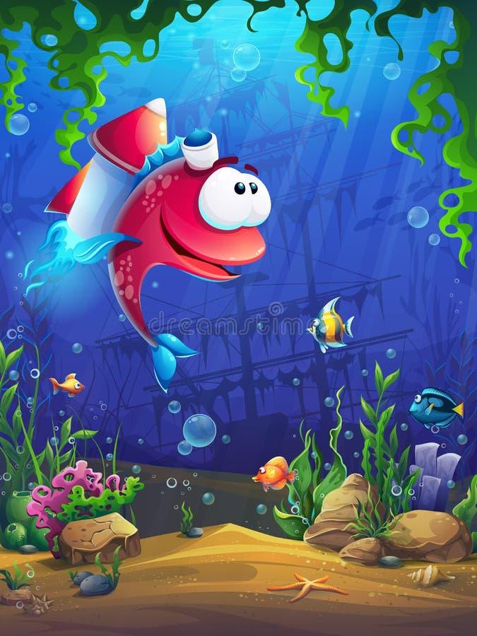 Ljus illustration för vektor för bakgrundsbild med fisken arkivfoton