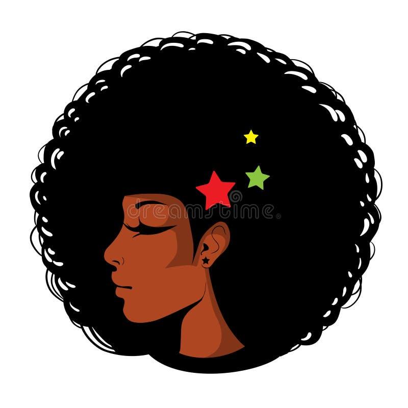 Ljus illustration för vektor i popkonst, afro amerikansk kvinnlig framsida Sexig kvinnaprofil med stängda ögon, afro frisyr in royaltyfri illustrationer