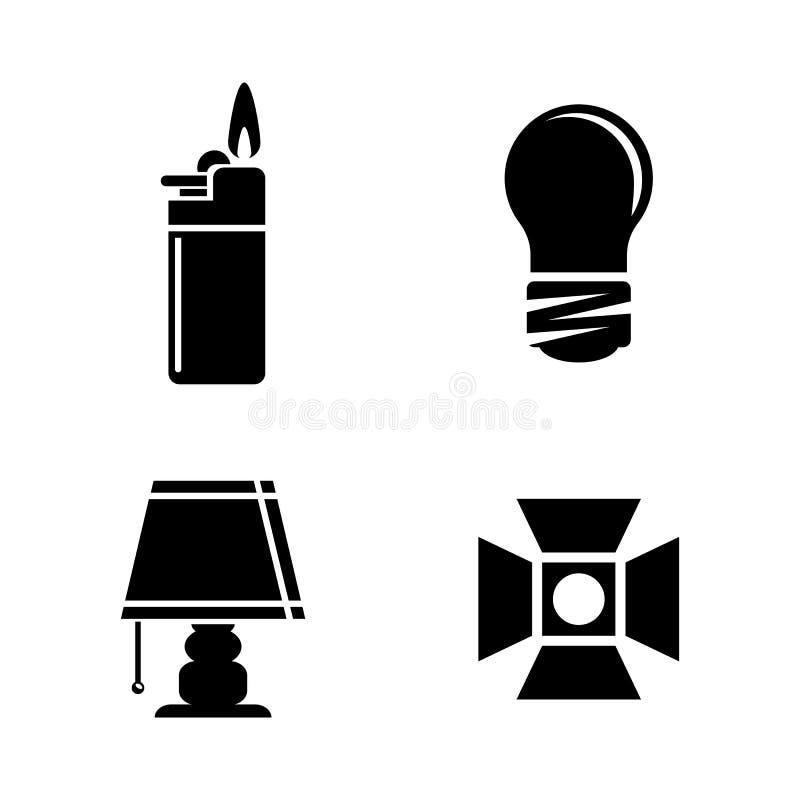 Ljus källa Enkla släkta vektorsymboler royaltyfri illustrationer