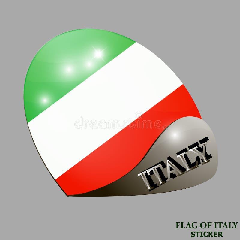 Ljus klistermärke med flaggan av Italien Lycklig Italien dagknapp Ljus illustration med flaggan stock illustrationer