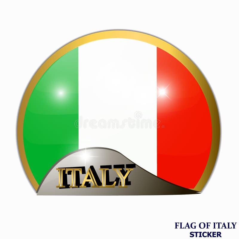 Ljus klistermärke med flaggan av Italien Lycklig Italien dagknapp Ljus illustration med flaggan royaltyfri illustrationer
