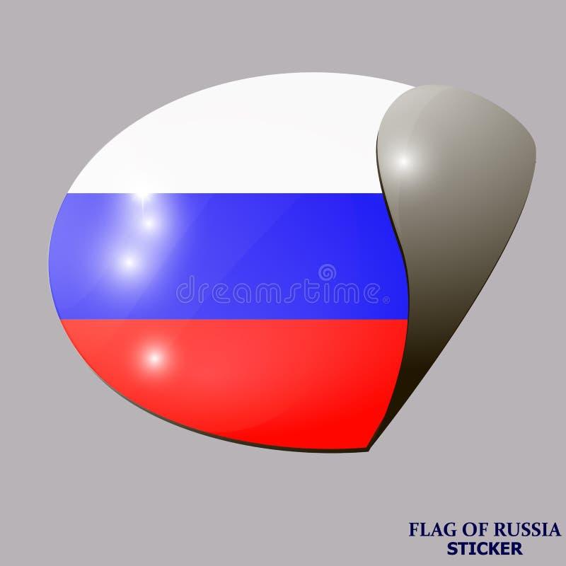 Ljus klistermärke med flaggan av Ryssland Lycklig Ryssland dagknapp stock illustrationer