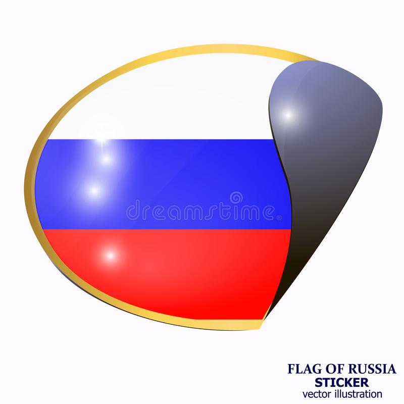 Ljus klistermärke med flaggan av Ryssland Lycklig Ryssland dagknapp vektor royaltyfri illustrationer
