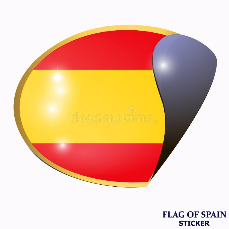 Ljus klistermärke med flaggan av Spanien Lycklig Spanien dagknapp Ljus illustration med flaggan royaltyfri illustrationer