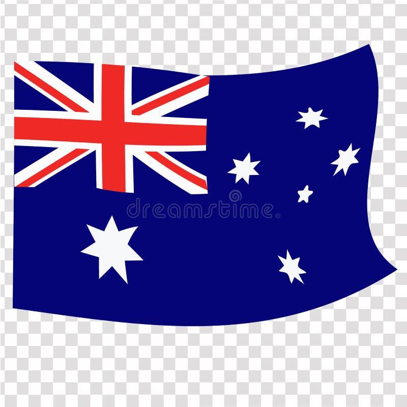 Ljus knapp med flaggan av Australien Lycklig Australien dagbakgrund illustration med vit bakgrund brigham stock illustrationer