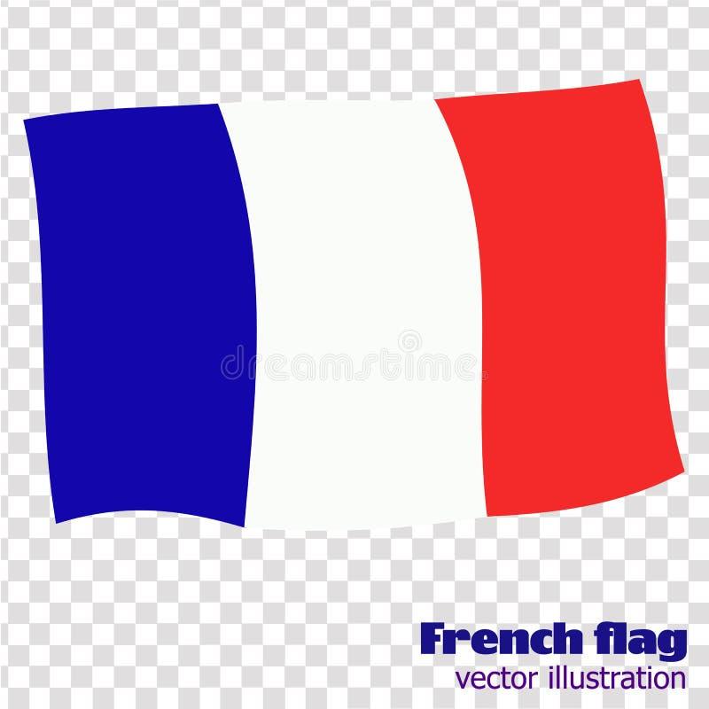 Ljus knapp med flaggan av Frankrike Banerillustration med flaggan Lycklig Frankrike dagbakgrund stock illustrationer