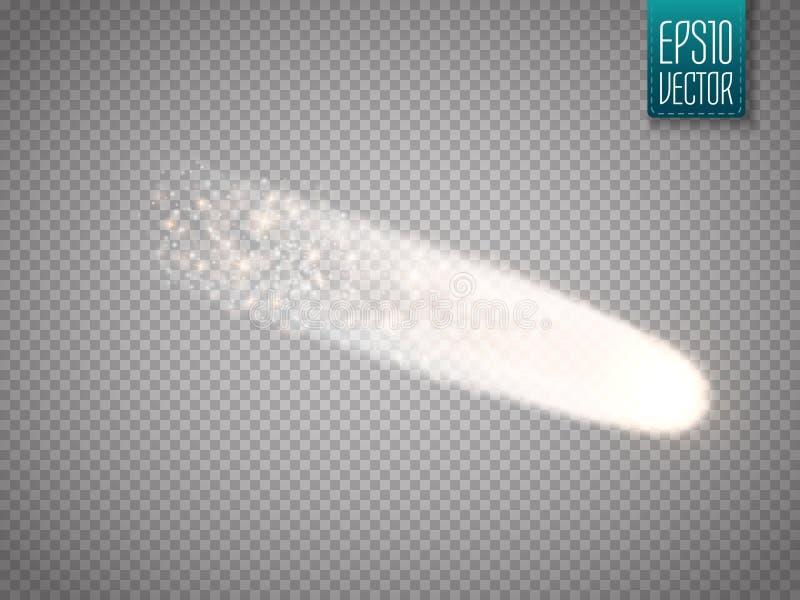 Ljus komet med stora damm- och gasslingor vektor stock illustrationer