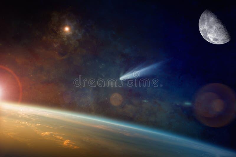 Ljus komet som att närma sig till planetjord i utrymme royaltyfri fotografi