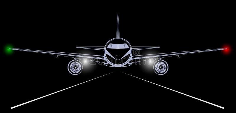 Ljus kontur av en stråltrafikflygplan som in kommer att landa i nattsvarthimlen royaltyfri illustrationer