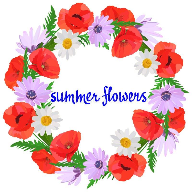 Ljus krans av ljusa sommarblommor: röda vita och lila tusenskönor för vallmo, gröna sidor som isoleras på vit bakgrund royaltyfri illustrationer