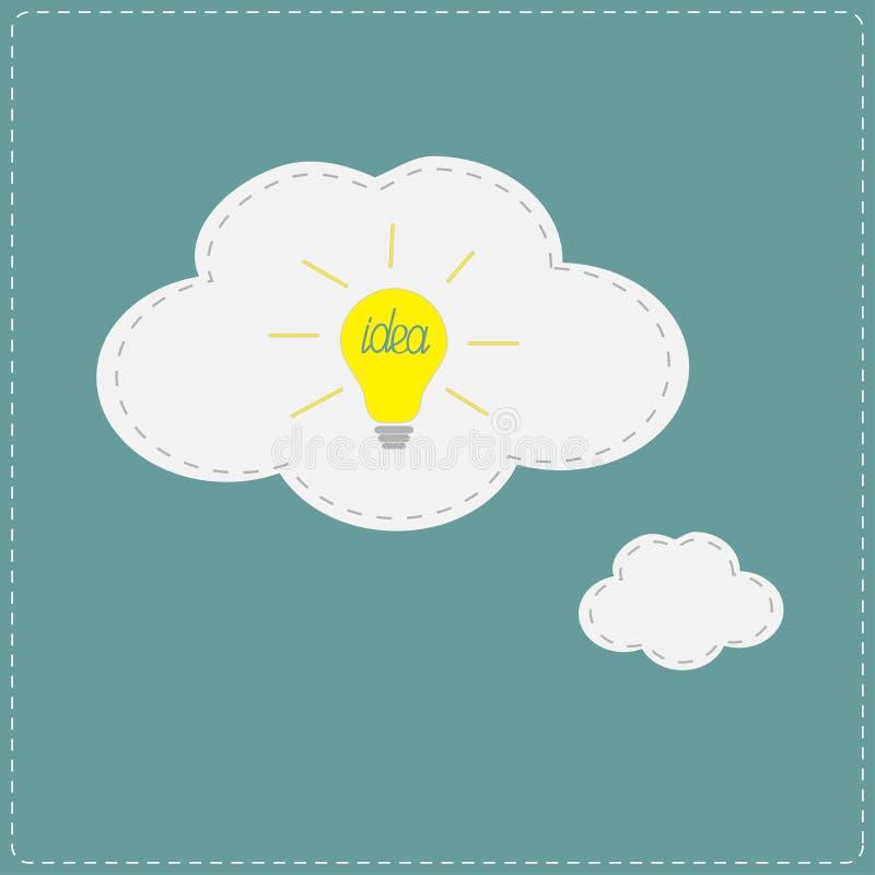 Ljus kula för gul idé i anförande- och tankebubbl royaltyfri illustrationer