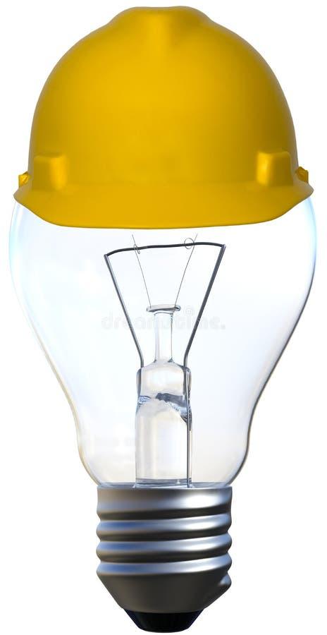 Ljus kula, hård hatt som isoleras, idéer, innovation, konstruktion fotografering för bildbyråer