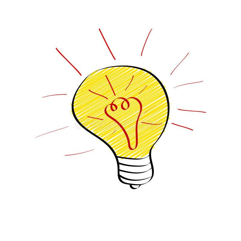 Ljus ljus kula i klotterstil som isoleras på vit bakgrund Stort idé-, idékläckning- eller innovationbegrepp royaltyfri illustrationer