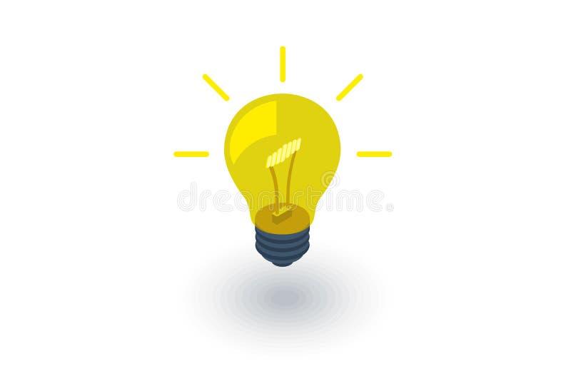 Ljus kula, isometrisk plan symbol för idé vektor 3d royaltyfri illustrationer