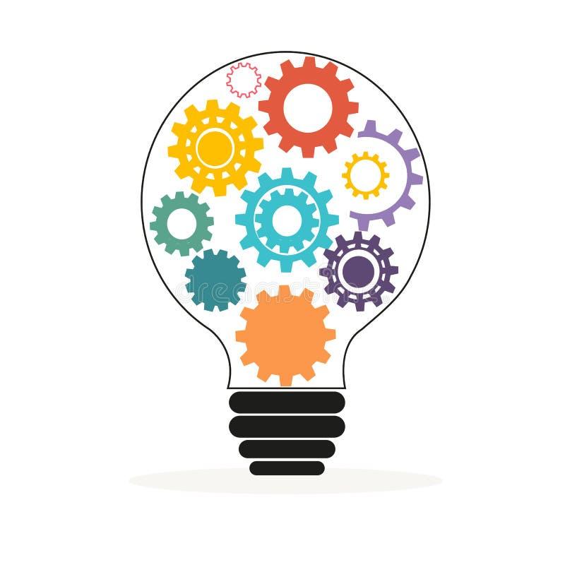 Ljus kula med den färgrika kugghjul- och kuggevektorn stock illustrationer