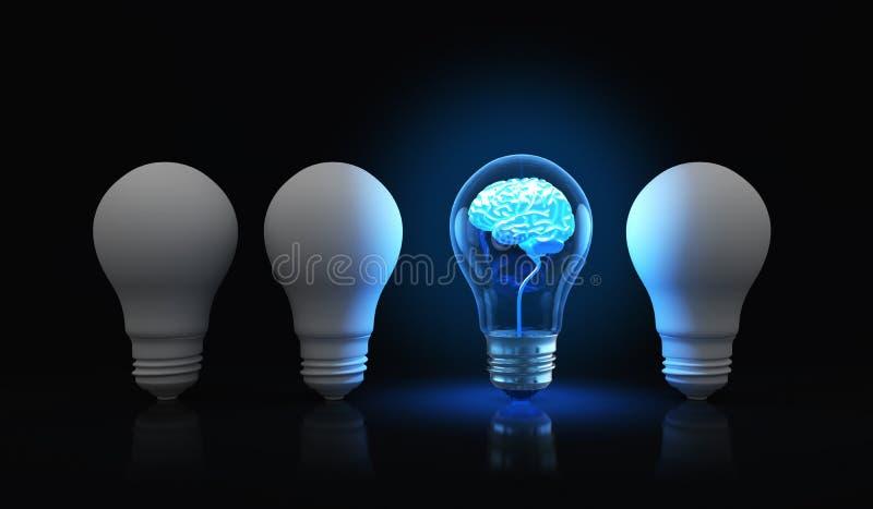 Ljus kula med den glänsande hjärnan inom stock illustrationer