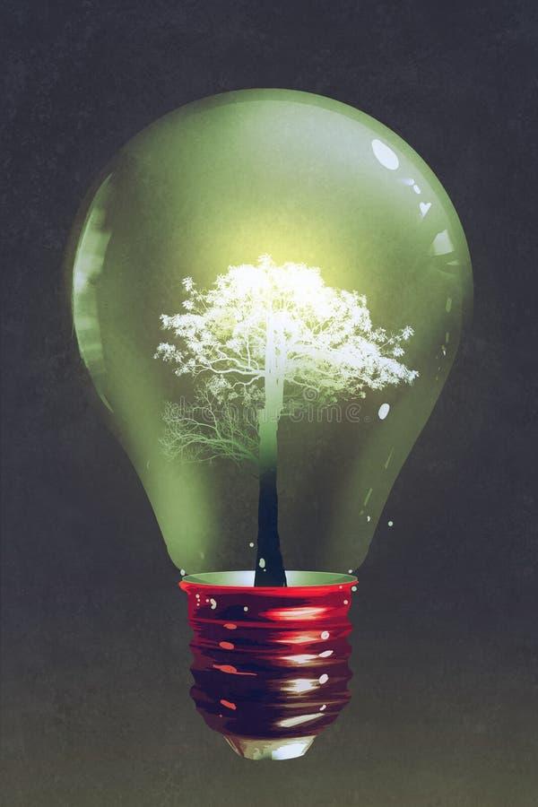Ljus kula med det ljusa trädet som inom växer vektor illustrationer