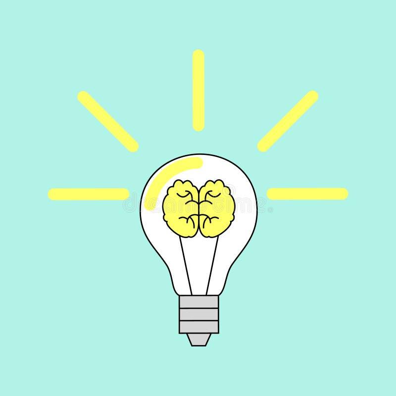 Ljus kula med en hjärna också vektor för coreldrawillustration royaltyfri illustrationer