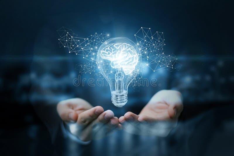 Ljus kula med hjärnan inom händerna av affärsmannen arkivbilder