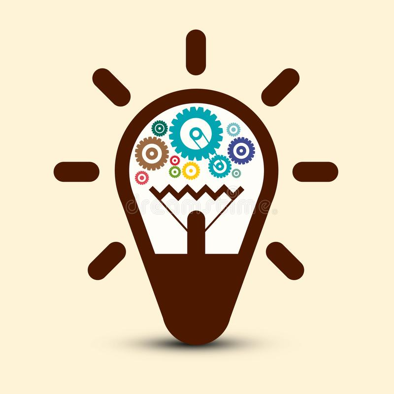 Ljus kula med kuggar - kugghjulsymbol royaltyfri illustrationer