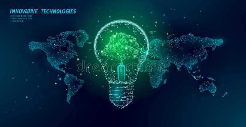 Ljus kula med trädet på världskarta För energiekologi för lampa sparande begrepp för idé för miljö Polygonal ljus elektr vektor illustrationer