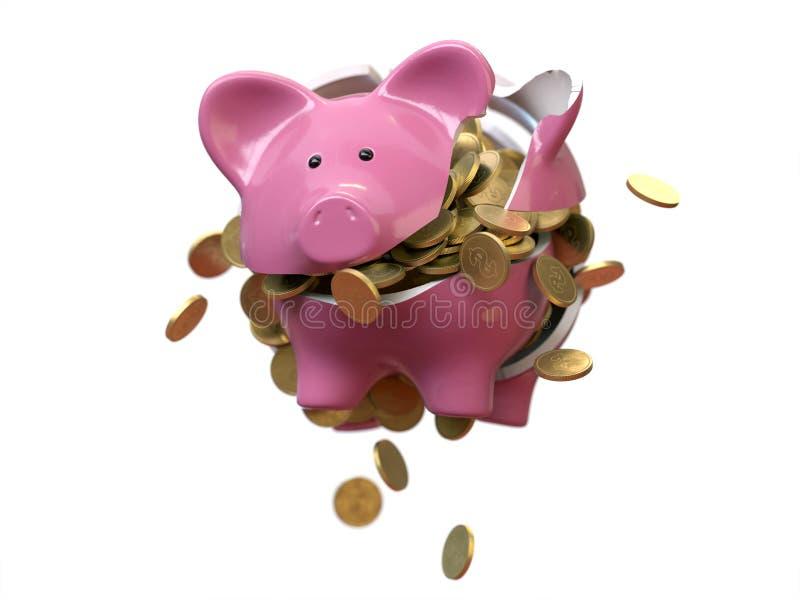 Ljus kula och gearsPiggy investering för bankräddningpengar arkivfoton