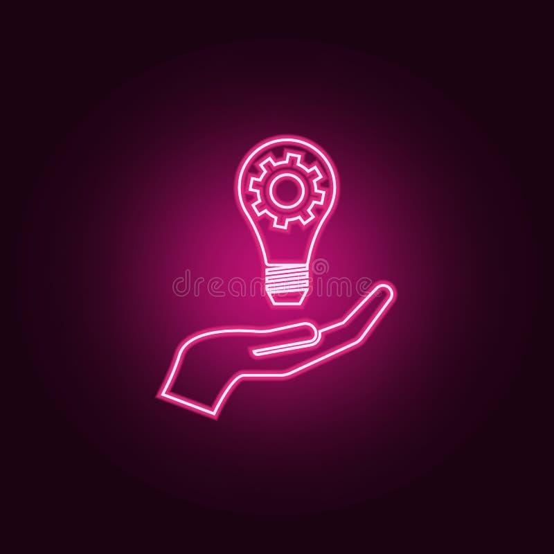 Ljus lampkula med kugghjulkugghjulet i hand Idéneonsymbol Best?ndsdelar av lagarbetsupps?ttningen Enkel symbol f?r websites, reng stock illustrationer