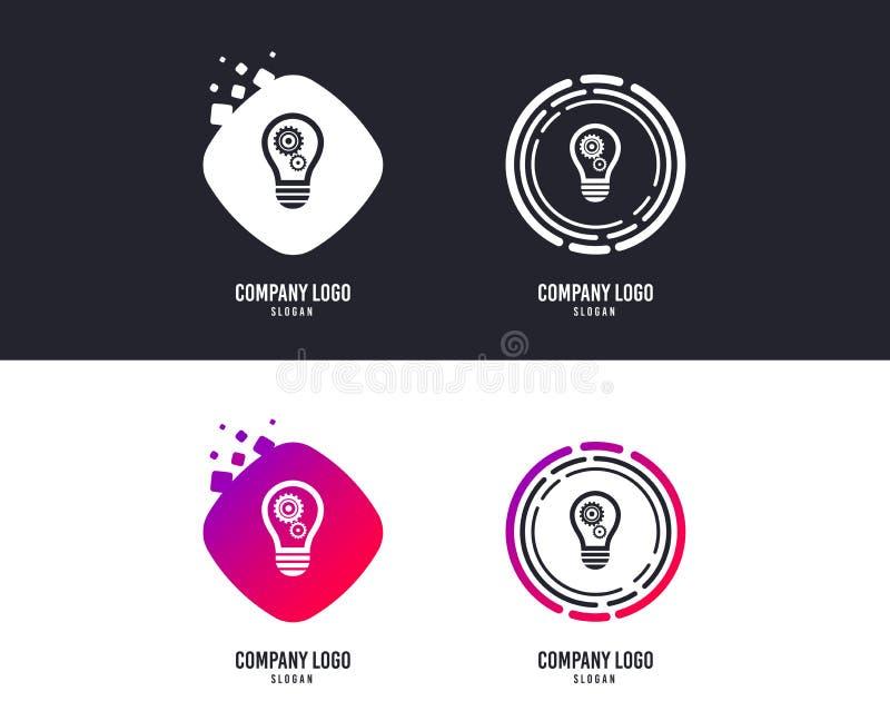 Ljus lampteckensymbol Kula med kugghjulsymbol vektor vektor illustrationer