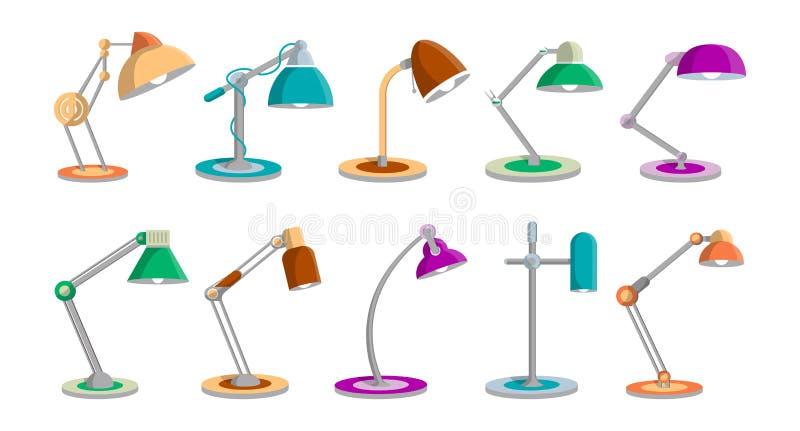 Ljus lampuppsättning för skrivbord i plan stil vektor illustrationer