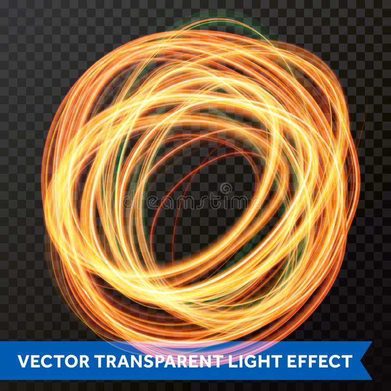 Ljus linje guld- virveleffekt för cirkel Vektorn blänker det ljusa brandsignalljusspåret royaltyfri illustrationer