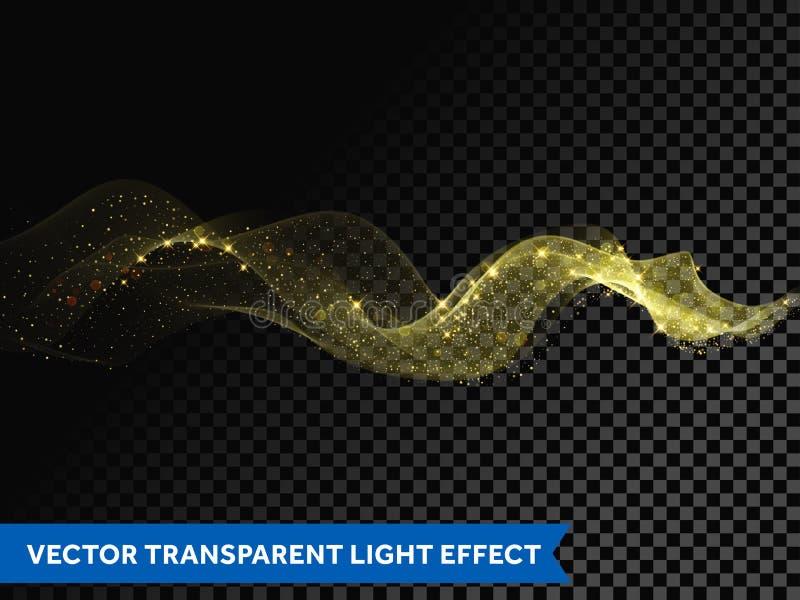 Ljus linje guld- virveleffekt Vektorn blänker det ljusa brandsignalljusspåret royaltyfri illustrationer
