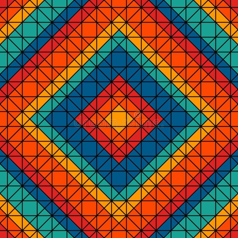 Ljus målat glassmosaikbakgrund Sömlös modell med det geometriska trycket för kalejdoskop Mexicanskt trådhantverkmotiv vektor illustrationer