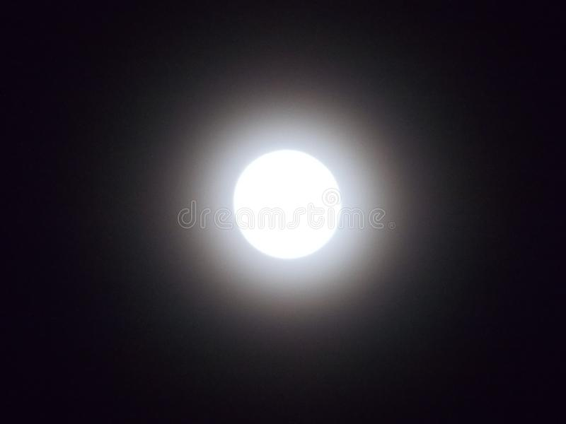 Ljus måne i den svarta himlen royaltyfri bild