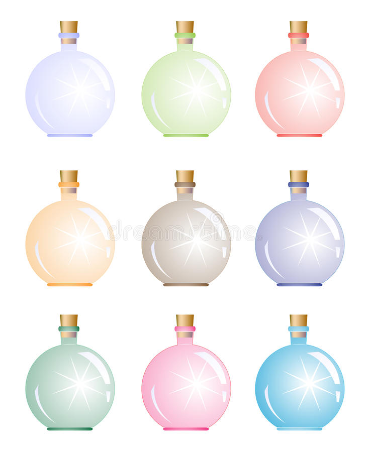 ljus magi för flaska stock illustrationer