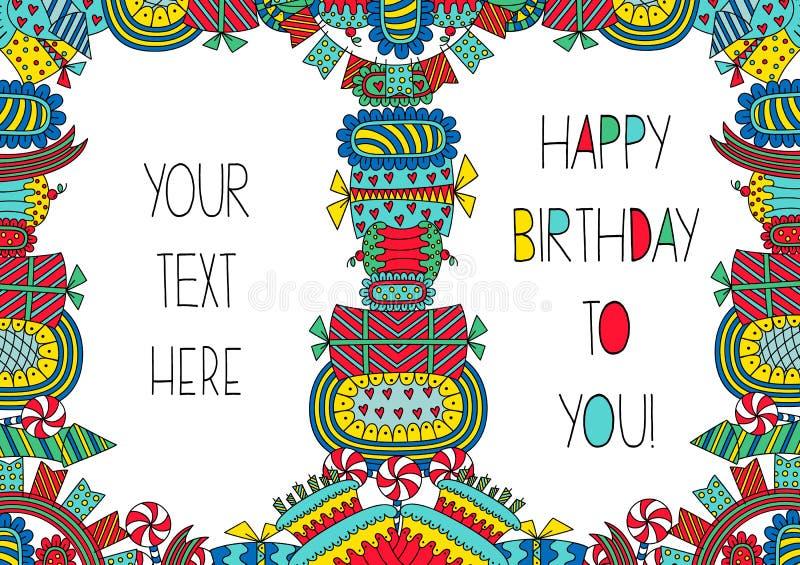 Ljus mall för födelsedagkort i klotterstil royaltyfri illustrationer
