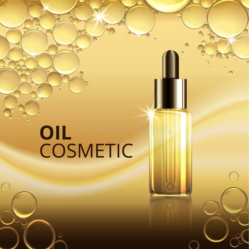 Ljus mall för skönhetsmedeloljaannonser stock illustrationer