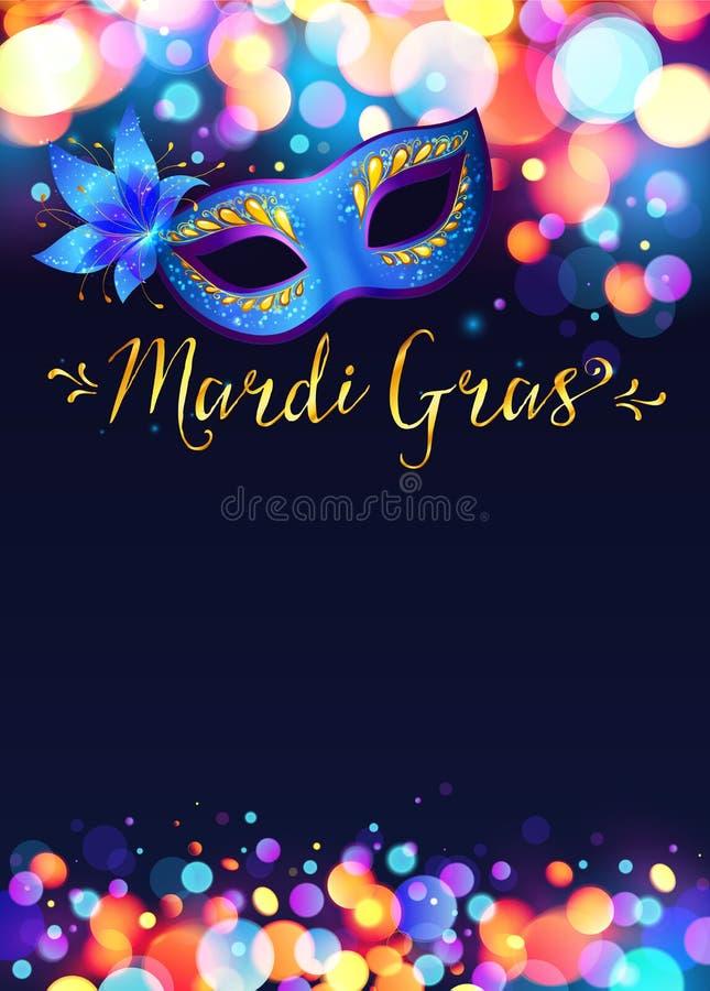 Ljus Mardi Gras affischmall med bokeh stock illustrationer