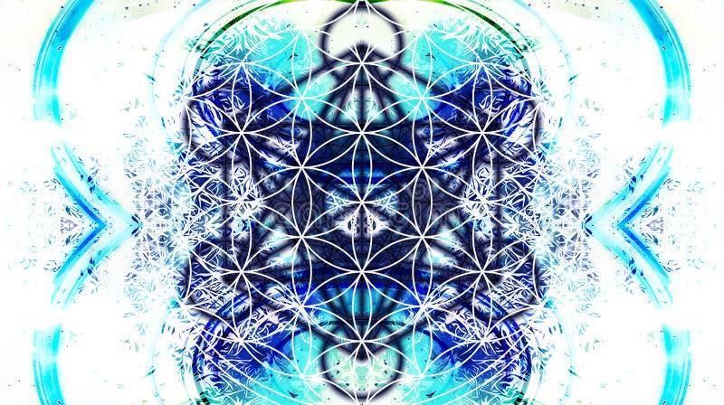 Ljus merkaba och blomma av liv på abstrakt färgbakgrund och fractalstrukturen sakral geometri stock illustrationer