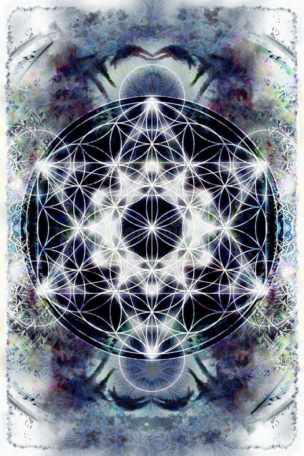 Ljus merkaba och blomma av liv på abstrakt färgbakgrund sakral geometri royaltyfri illustrationer