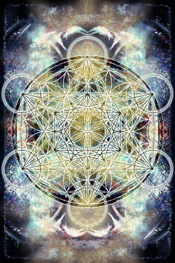 Ljus merkaba och blomma av liv på abstrakt färgbakgrund sakral geometri vektor illustrationer