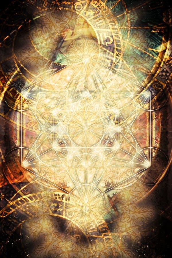 Ljus merkaba- och zodiak- och abstrakt begreppbakgrund sakral geometri vektor illustrationer