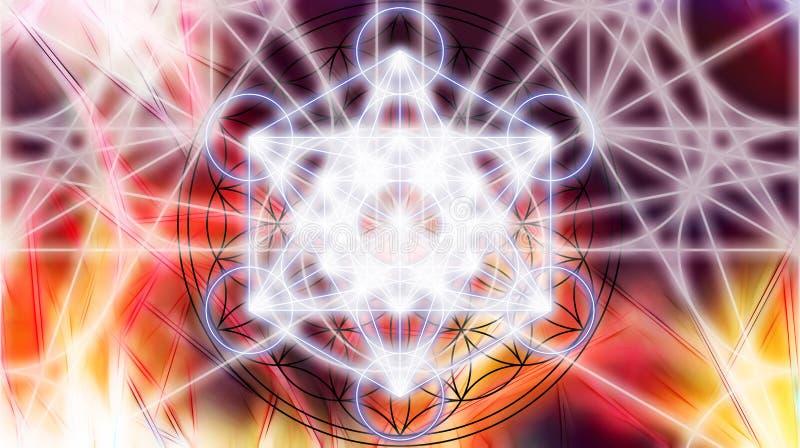 Ljus merkaba på abstrakt färgbakgrund sakral geometri royaltyfri illustrationer