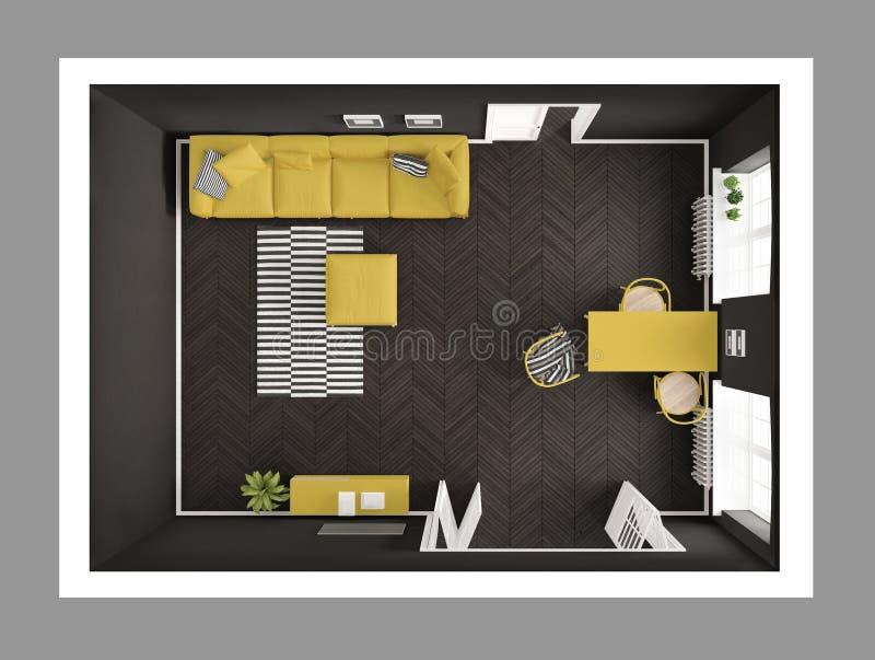 Ljus minimalist vardagsrum med soffan och äta middagtabellen, scandi royaltyfri illustrationer