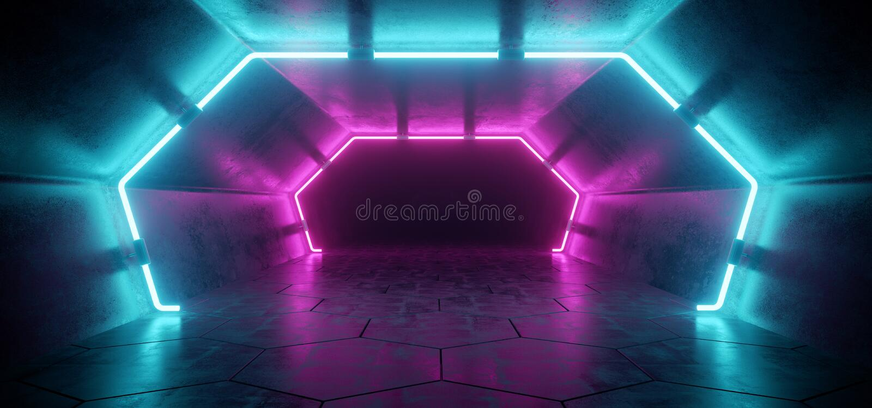 Ljus modern futuristisk främmande reflekterande konkret korridor Tunn royaltyfri illustrationer