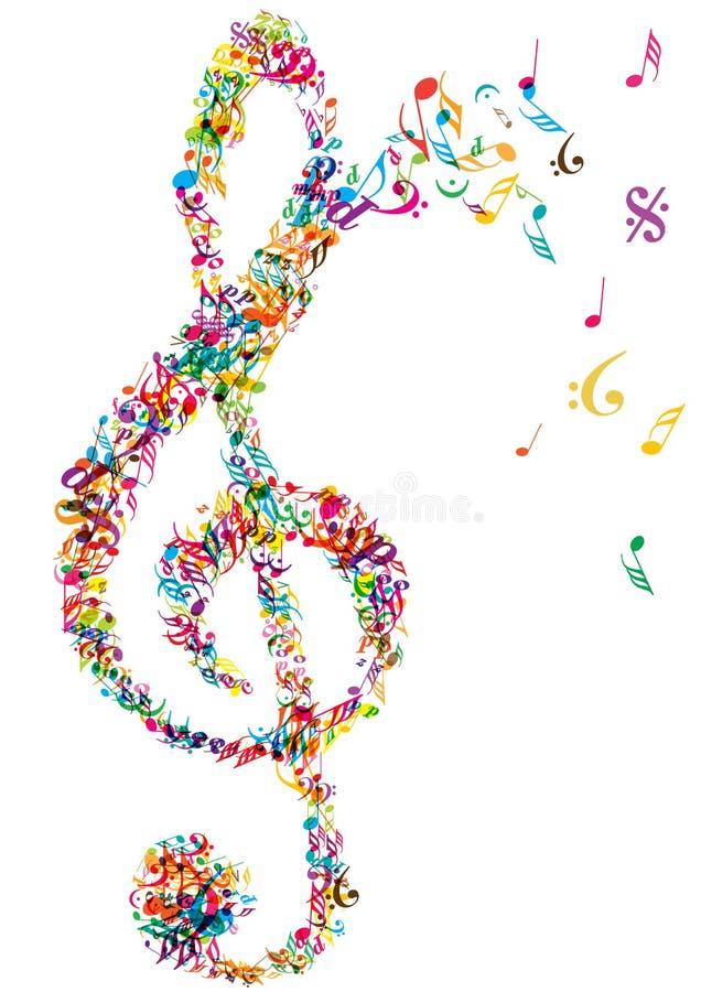 Ljus musik noterar klaven royaltyfri illustrationer