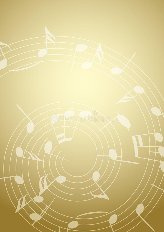 Ljus musikbakgrund med anmärkningar - guld stock illustrationer