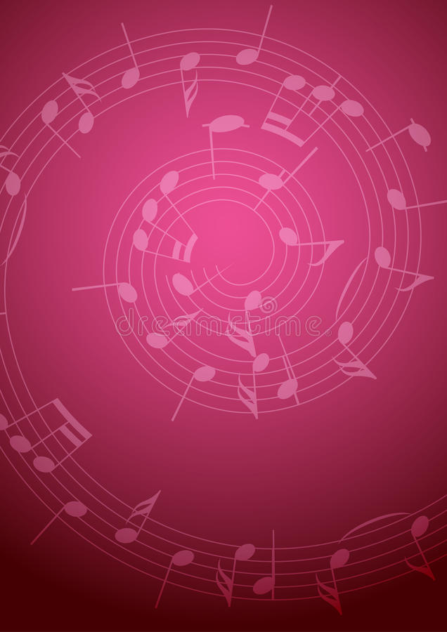 Ljus musikbakgrund med röda anmärkningar - stock illustrationer