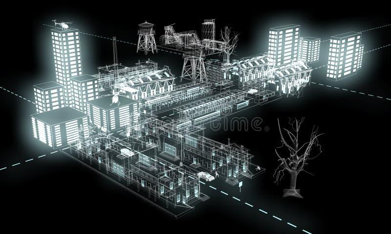 ljus natt för 3 stad stock illustrationer