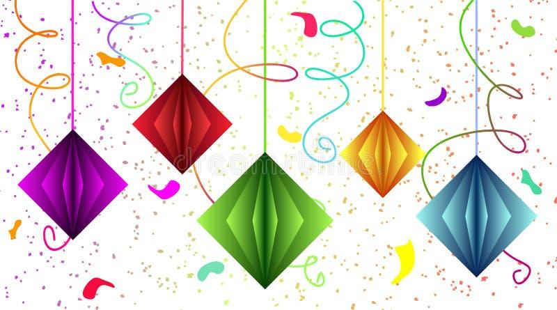 Ljus och festlig tapet - bakgrund med slingrande och flygakuber i stilen av att klippa ut papper Kulör tapet fo vektor illustrationer