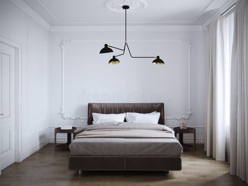 Ljus och hemtrevlig modern sovruminredesign med vita väggar, royaltyfri fotografi